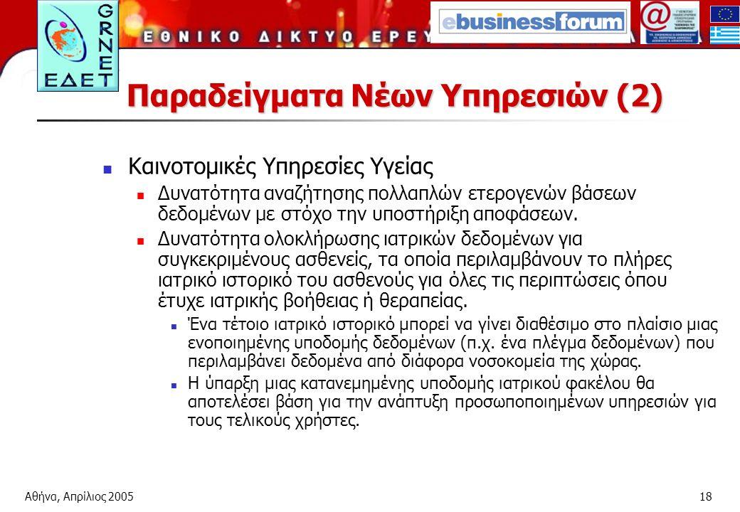 Αθήνα, Απρίλιος 200518 Παραδείγματα Νέων Υπηρεσιών (2) Καινοτομικές Υπηρεσίες Υγείας Δυνατότητα αναζήτησης πολλαπλών ετερογενών βάσεων δεδομένων με στόχο την υποστήριξη αποφάσεων.