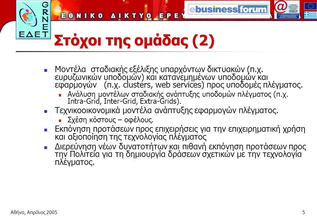 Αθήνα, Απρίλιος 20055 Στόχοι της ομάδας (2) Μοντέλα σταδιακής εξέλιξης υπαρχόντων δικτυακών (π.χ.