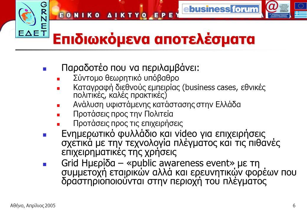 Αθήνα, Απρίλιος 20056 Επιδιωκόμενα αποτελέσματα Παραδοτέο που να περιλαμβάνει: Σύντομο θεωρητικό υπόβαθρο Καταγραφή διεθνούς εμπειρίας (business cases, εθνικές πολιτικές, καλές πρακτικές) Ανάλυση υφιστάμενης κατάστασης στην Ελλάδα Προτάσεις προς την Πολιτεία Προτάσεις προς τις επιχειρήσεις Ενημερωτικό φυλλάδιο και video για επιχειρήσεις σχετικά με την τεχνολογία πλέγματος και τις πιθανές επιχειρηματικές της χρήσεις Grid Ημερίδα – «public awareness event» με τη συμμετοχή εταιρικών αλλά και ερευνητικών φορέων που δραστηριοποιούνται στην περιοχή του πλέγματος