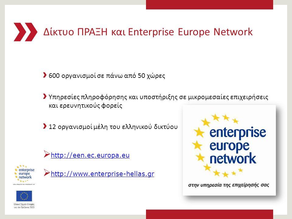Δίκτυο ΠΡΑΞΗ και Enterprise Europe Network › 600 οργανισμοί σε πάνω από 50 χώρες › Υπηρεσίες πληροφόρησης και υποστήριξης σε μικρομεσαίες επιχειρήσεις και ερευνητικούς φορείς › 12 οργανισμοί μέλη του ελληνικού δικτύου  http://een.ec.europa.euhttp://een.ec.europa.eu  http://www.enterprise-hellas.grhttp://www.enterprise-hellas.gr