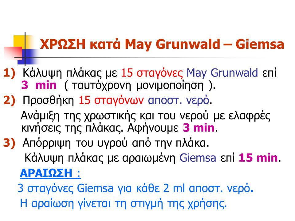 ΧΡΩΣΗ κατά May Grunwald – Giemsa 1) Κάλυψη πλάκας με 15 σταγόνες May Grunwald επί 3 min ( ταυτόχρονη μονιμοποίηση ). 2) Προσθήκη 15 σταγόνων αποστ. νε