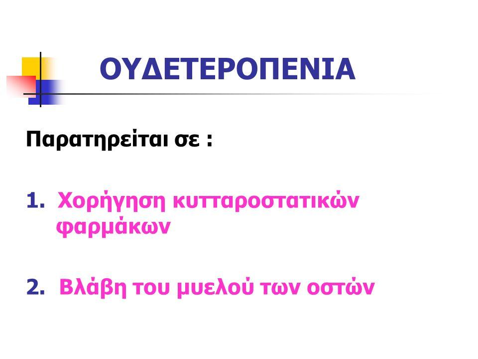ΟΥΔΕΤΕΡΟΠΕΝΙΑ Παρατηρείται σε : 1. Χορήγηση κυτταροστατικών φαρμάκων 2. Βλάβη του μυελού των οστών