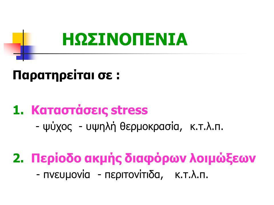 ΗΩΣΙΝΟΠΕΝΙΑ Παρατηρείται σε : 1. Καταστάσεις stress - ψύχος - υψηλή θερμοκρασία, κ.τ.λ.π. 2. Περίοδο ακμής διαφόρων λοιμώξεων - πνευμονία - περιτονίτι