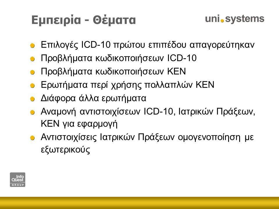 Εμπειρία - Θέματα Επιλογές ICD-10 πρώτου επιπέδου απαγορεύτηκαν Προβλήματα κωδικοποιήσεων ICD-10 Προβλήματα κωδικοποιήσεων ΚΕΝ Ερωτήματα περί χρήσης πολλαπλών ΚΕΝ Διάφορα άλλα ερωτήματα Αναμονή αντιστοιχίσεων ICD-10, Ιατρικών Πράξεων, ΚΕΝ για εφαρμογή Αντιστοιχίσεις Ιατρικών Πράξεων ομογενοποίηση με εξωτερικούς