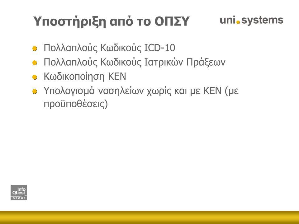Υποστήριξη από το ΟΠΣΥ Πολλαπλούς Κωδικούς ICD-10 Πολλαπλούς Κωδικούς Ιατρικών Πράξεων Κωδικοποίηση ΚΕΝ Υπολογισμό νοσηλείων χωρίς και με ΚΕΝ (με προϋποθέσεις)