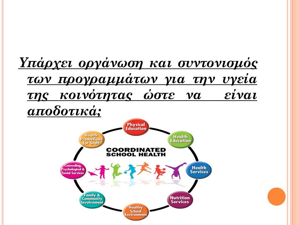 Υπάρχει οργάνωση και συντονισμός των προγραμμάτων για την υγεία της κοινότητας ώστε να είναι αποδοτικά;