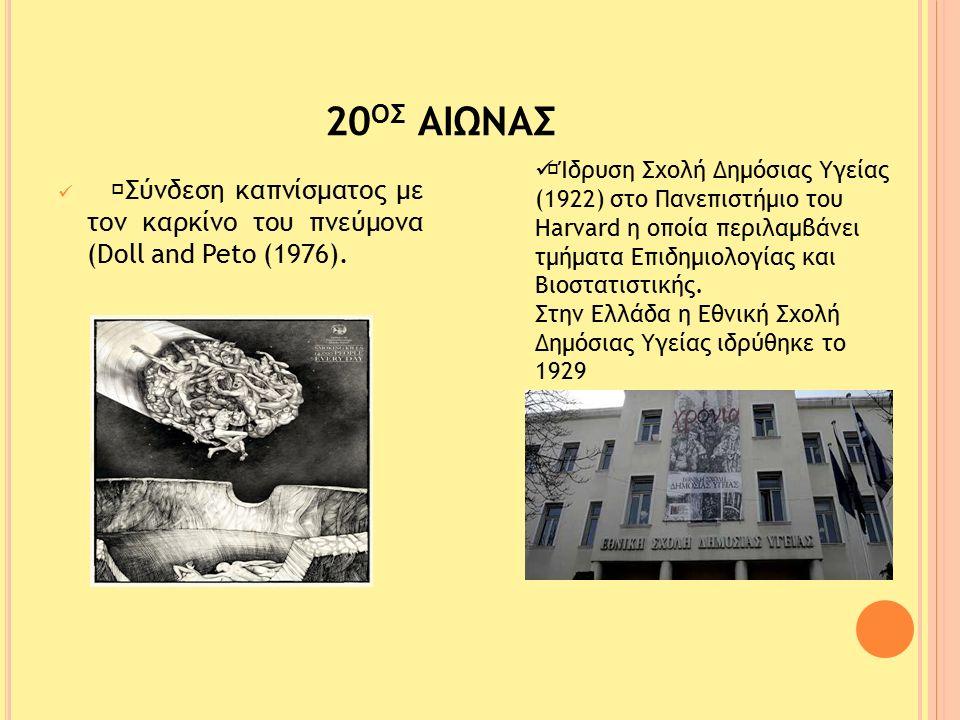 """20 Ο Σ ΑΙΩΝΑΣ """"Σύνδεση καπνίσµατος µε τον καρκίνο του πνεύµονα (Doll and Peto (1976)."""