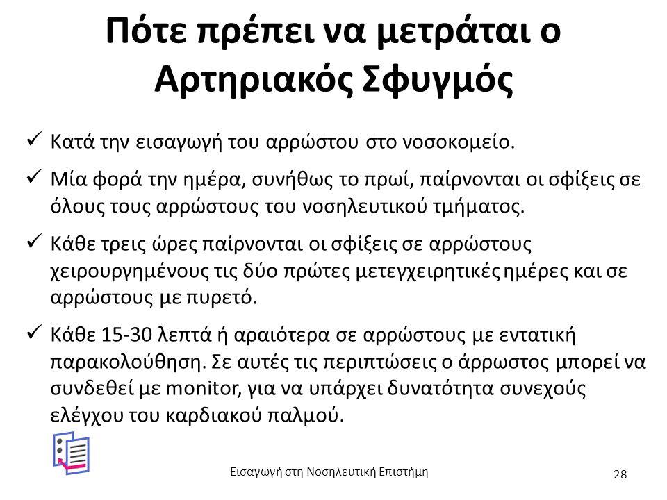 Πότε πρέπει να μετράται ο Αρτηριακός Σφυγμός Κατά την εισαγωγή του αρρώστου στο νοσοκομείο.