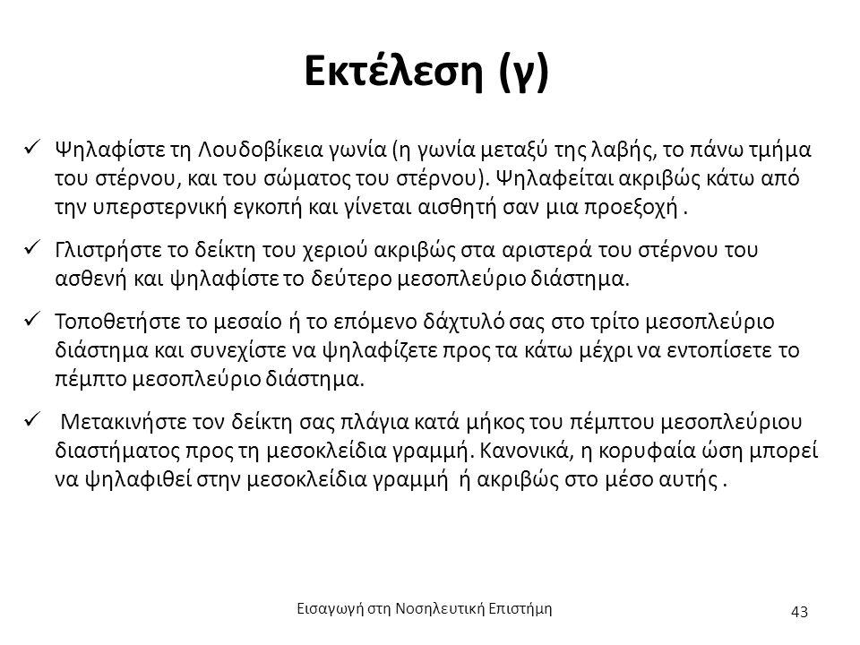 Εκτέλεση (γ) Ψηλαφίστε τη Λουδοβίκεια γωνία (η γωνία μεταξύ της λαβής, το πάνω τμήμα του στέρνου, και του σώματος του στέρνου).
