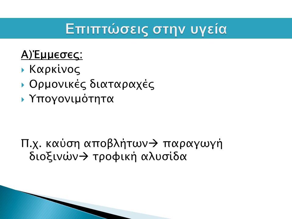 Α)Έμμεσες:  Καρκίνος  Ορμονικές διαταραχές  Υπογονιμότητα Π.χ.
