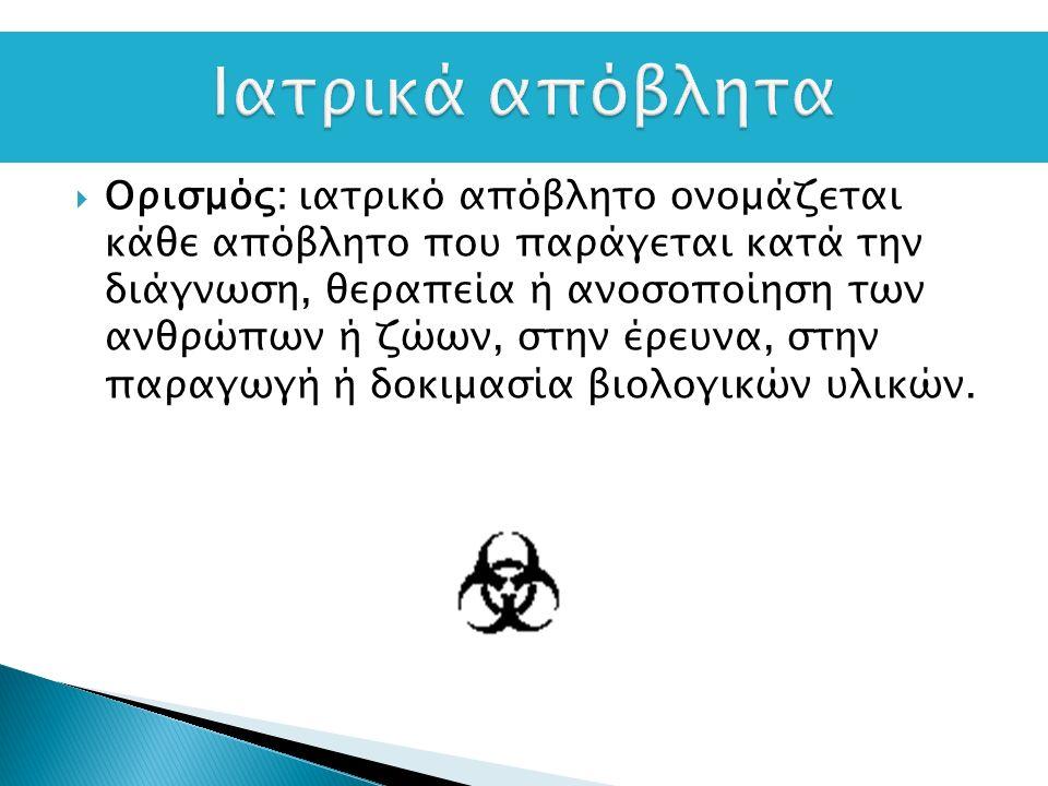  Ορισμός: ιατρικό απόβλητο ονομάζεται κάθε απόβλητο που παράγεται κατά την διάγνωση, θεραπεία ή ανοσοποίηση των ανθρώπων ή ζώων, στην έρευνα, στην παραγωγή ή δοκιμασία βιολογικών υλικών.