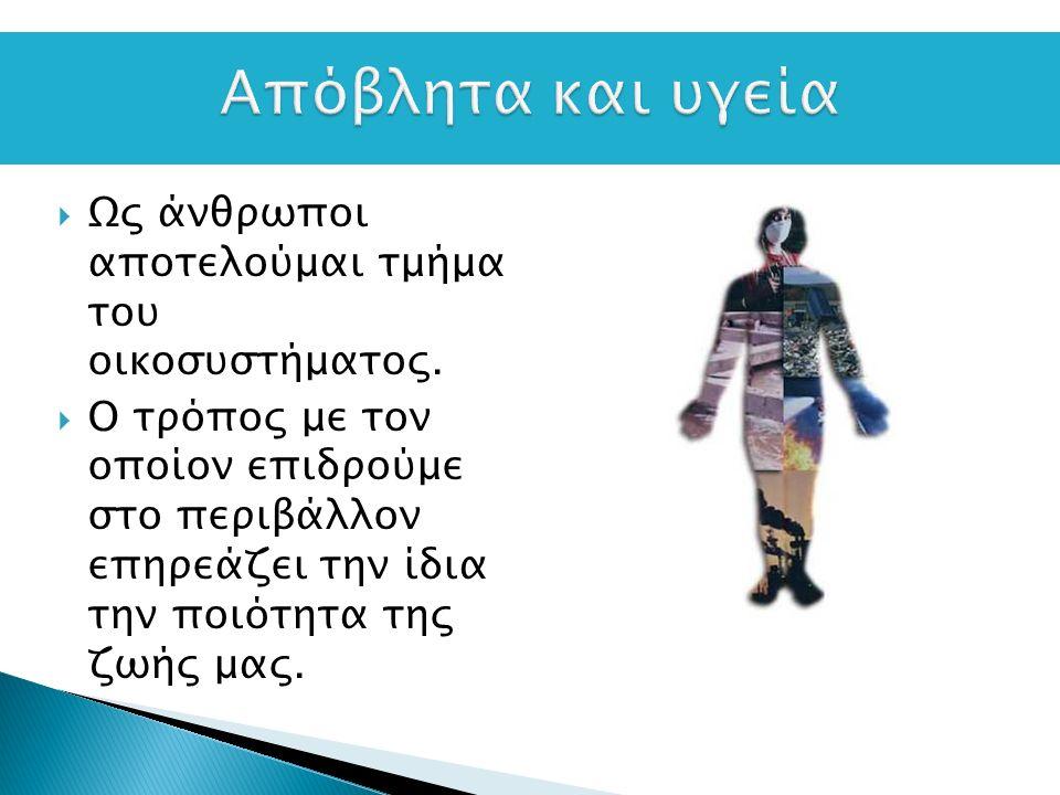  Ουσιαστικά η κατά κεφαλήν ποσότητα απορριμμάτων είναι συνάρτηση του πλούτου/ του κατά κεφαλή εισοδήματος μιας χώρας  Είναι αντιφατικό γεγονός ότι οι ποσότητες απορριμμάτων και κατά συνέπεια ρύπων είναι αυξημένες στις «πολιτισμένες» χώρες  Για την Αθήνα αντιστοιχούν 5000tn/ ημέρα απορριμμάτων  Για κάθε κάτοικο έχουμε περίπου 420kg/έτος στερεών απορριμμάτων με αυξητικές τάσεις 2% ετησίως