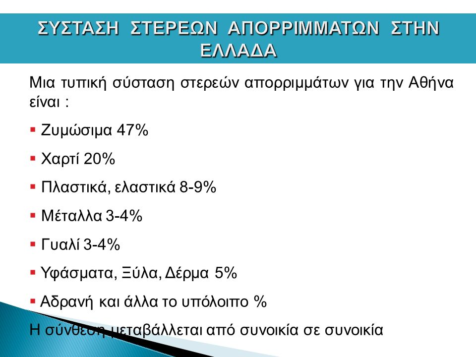 Μια τυπική σύσταση στερεών απορριμμάτων για την Αθήνα είναι :  Ζυμώσιμα 47%  Χαρτί 20%  Πλαστικά, ελαστικά 8-9%  Μέταλλα 3-4%  Γυαλί 3-4%  Υφάσματα, Ξύλα, Δέρμα 5%  Αδρανή και άλλα το υπόλοιπο % Η σύνθεση μεταβάλλεται από συνοικία σε συνοικία