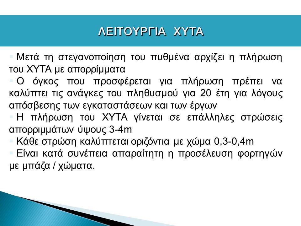  Μετά τη στεγανοποίηση του πυθμένα αρχίζει η πλήρωση του ΧΥΤΑ με απορρίμματα  Ο όγκος που προσφέρεται για πλήρωση πρέπει να καλύπτει τις ανάγκες του πληθυσμού για 20 έτη για λόγους απόσβεσης των εγκαταστάσεων και των έργων  Η πλήρωση του ΧΥΤΑ γίνεται σε επάλληλες στρώσεις απορριμμάτων ύψους 3-4m  Κάθε στρώση καλύπτεται οριζόντια με χώμα 0,3-0,4m  Είναι κατά συνέπεια απαραίτητη η προσέλευση φορτηγών με μπάζα / χώματα.