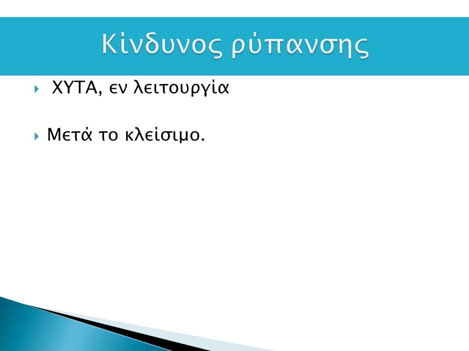  XYTA, εν λειτουργία  Μετά το κλείσιμο.