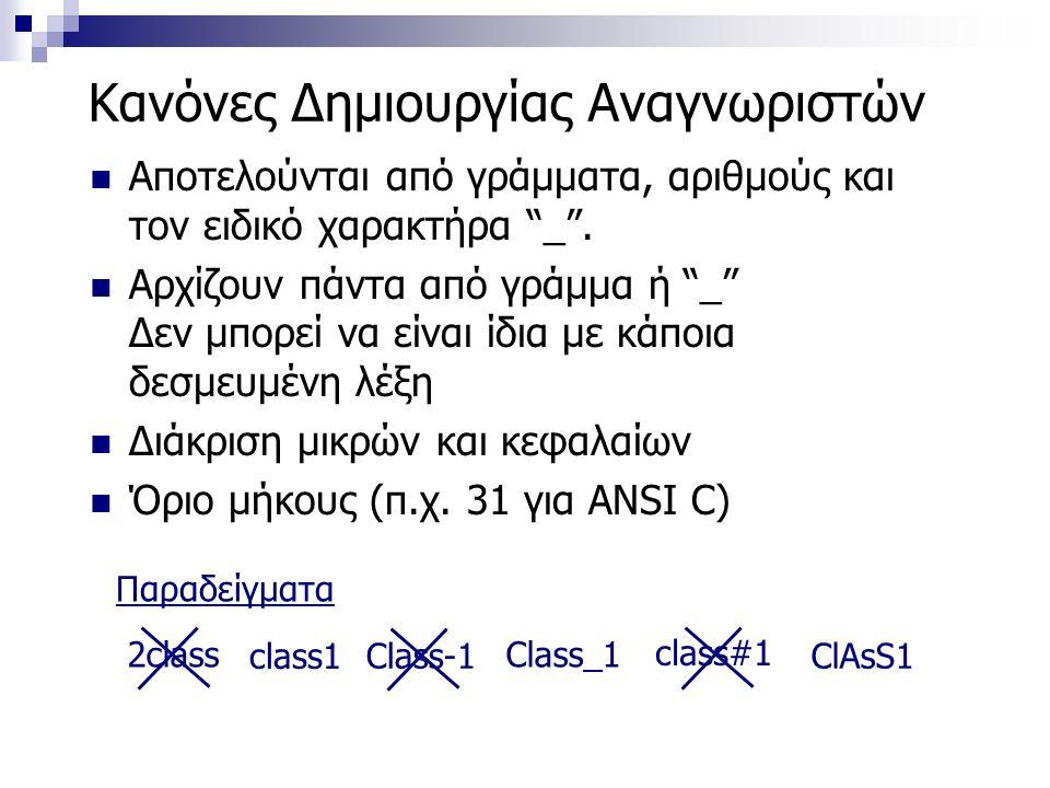 Κανόνες Δημιουργίας Αναγνωριστών Αποτελούνται από γράμματα, αριθμούς και τον ειδικό χαρακτήρα _ .