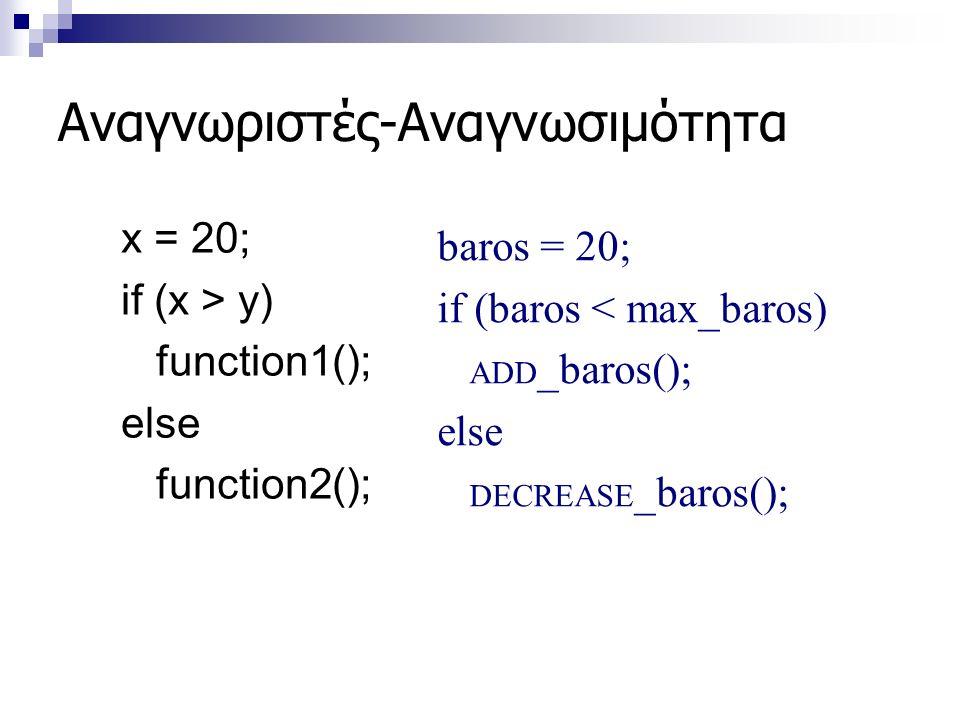 Αναγνωριστές-Αναγνωσιμότητα x = 20; if (x > y) function1(); else function2(); baros = 20; if (baros < max_baros) ADD _baros(); else DECREASE _baros();