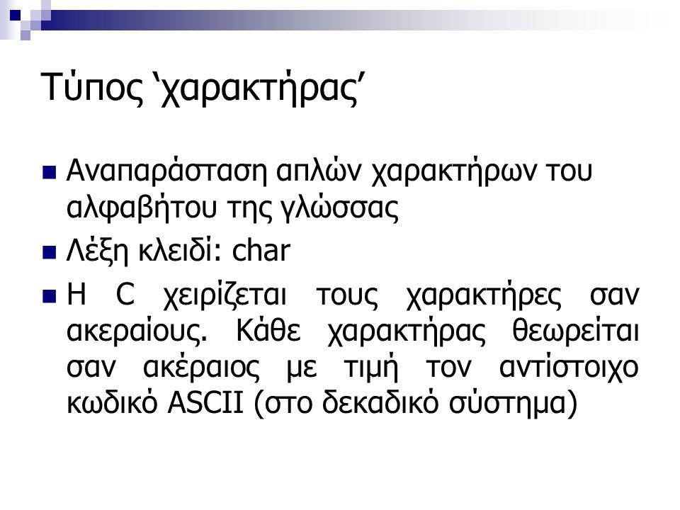 Τύπος 'χαρακτήρας' Αναπαράσταση απλών χαρακτήρων του αλφαβήτου της γλώσσας Λέξη κλειδί: char Η C χειρίζεται τους χαρακτήρες σαν ακεραίους.