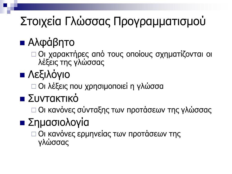Στοιχεία Γλώσσας Προγραμματισμού Αλφάβητο  Οι χαρακτήρες από τους οποίους σχηματίζονται οι λέξεις της γλώσσας Λεξιλόγιο  Οι λέξεις που χρησιμοποιεί η γλώσσα Συντακτικό  Οι κανόνες σύνταξης των προτάσεων της γλώσσας Σημασιολογία  Οι κανόνες ερμηνείας των προτάσεων της γλώσσας