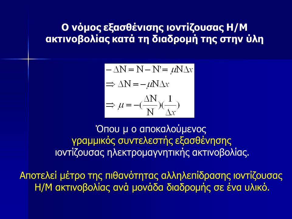 Όπου μ ο αποκαλούμενος γραμμικός συντελεστής εξασθένησης ιοντίζουσας ηλεκτρομαγνητικής ακτινοβολίας.