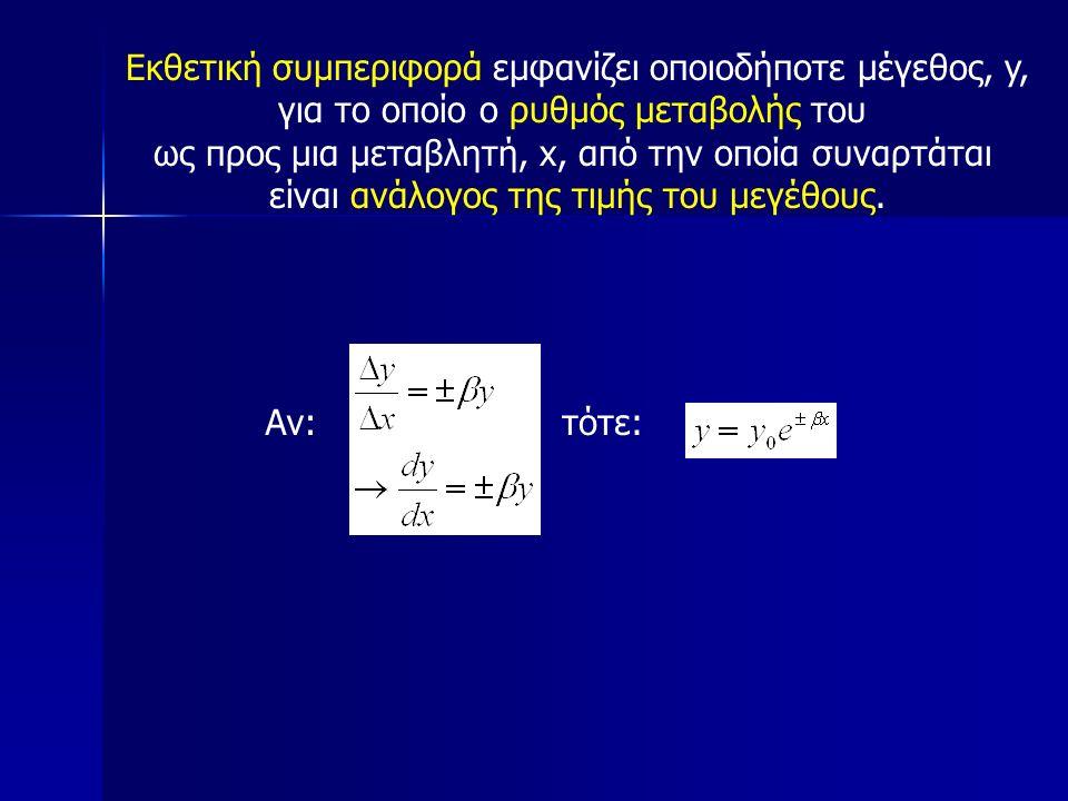 τότε:Αν: Εκθετική συμπεριφορά εμφανίζει οποιοδήποτε μέγεθος, y, για το οποίο ο ρυθμός μεταβολής του ως προς μια μεταβλητή, x, από την οποία συναρτάται είναι ανάλογος της τιμής του μεγέθους.