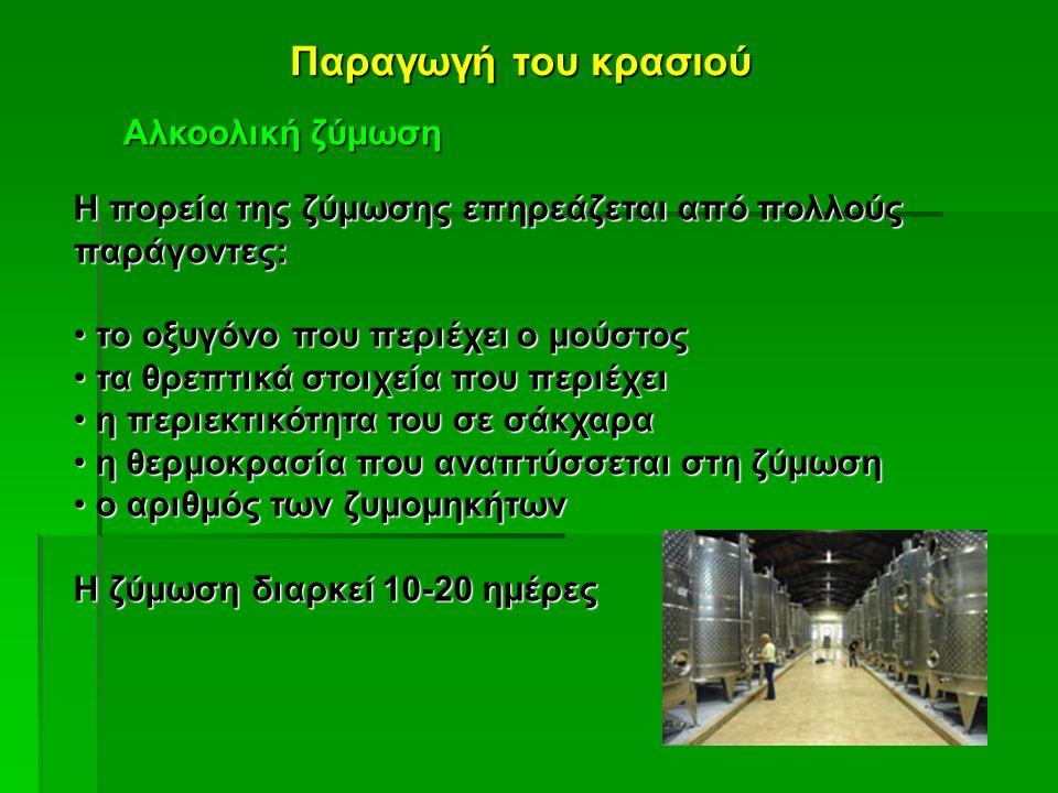 Παραγωγή του κρασιού Αλκοολική ζύμωση Η πορεία της ζύμωσης επηρεάζεται από πολλούς παράγοντες: το οξυγόνο που περιέχει ο μούστος το οξυγόνο που περιέχ