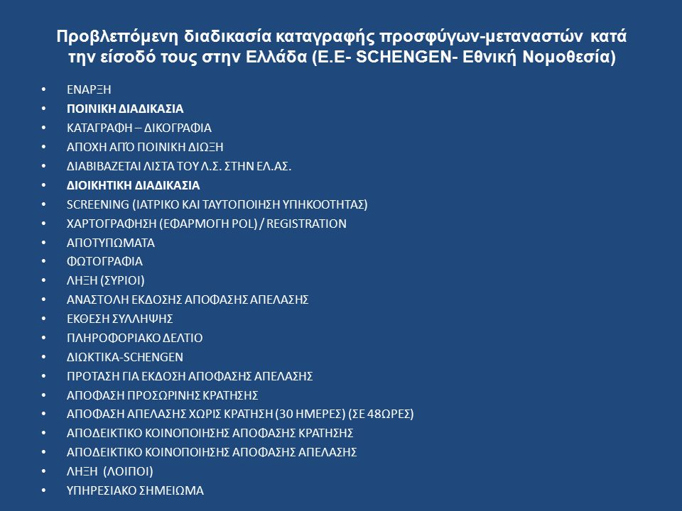 Προβλεπόμενη διαδικασία καταγραφής προσφύγων-μεταναστών κατά την είσοδό τους στην Ελλάδα (Ε.Ε- SCHENGEN- Εθνική Νομοθεσία) ΕΝΑΡΞΗ ΠΟΙΝΙΚΗ ΔΙΑΔΙΚΑΣΙΑ ΚΑΤΑΓΡΑΦΗ – ΔΙΚΟΓΡΑΦΙΑ ΑΠΟΧΗ ΑΠΌ ΠΟΙΝΙΚΗ ΔΙΩΞΗ ΔΙΑΒΙΒΑΖΕΤΑΙ ΛΙΣΤΑ ΤΟΥ Λ.Σ.