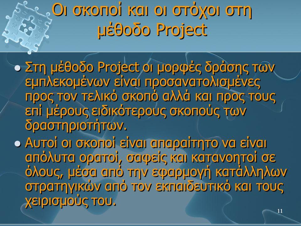 11 Οι σκοποί και οι στόχοι στη μέθοδο Project Στη μέθοδο Project οι μορφές δράσης των εμπλεκομένων είναι προσανατολισμένες προς τον τελικό σκοπό αλλά και προς τους επί μέρους ειδικότερους σκοπούς των δραστηριοτήτων.