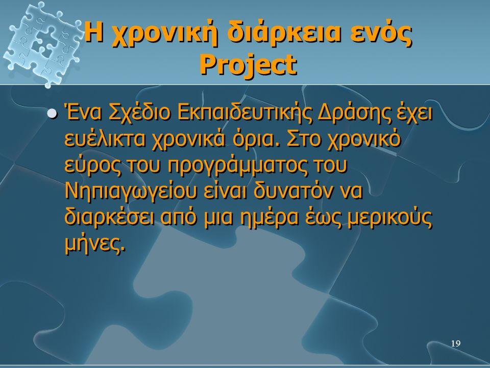 19 Η χρονική διάρκεια ενός Project Ένα Σχέδιο Εκπαιδευτικής Δράσης έχει ευέλικτα χρονικά όρια.
