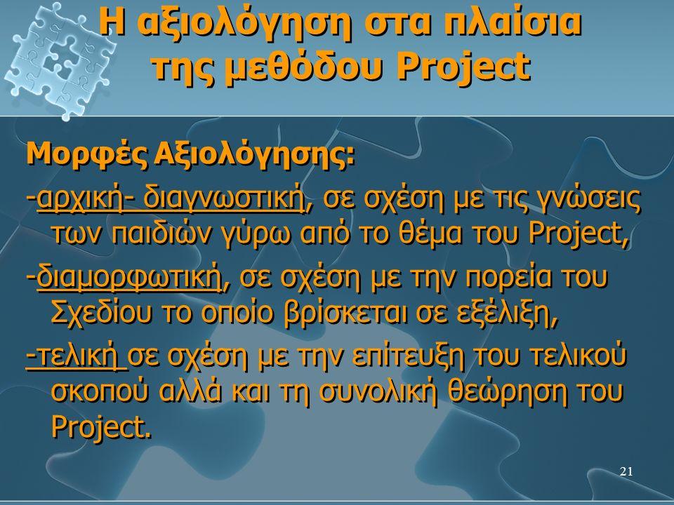 21 Η αξιολόγηση στα πλαίσια της μεθόδου Project Μορφές Αξιολόγησης: -αρχική- διαγνωστική, σε σχέση με τις γνώσεις των παιδιών γύρω από το θέμα του Project, -διαμορφωτική, σε σχέση με την πορεία του Σχεδίου το οποίο βρίσκεται σε εξέλιξη, -τελική σε σχέση με την επίτευξη του τελικού σκοπού αλλά και τη συνολική θεώρηση του Project.
