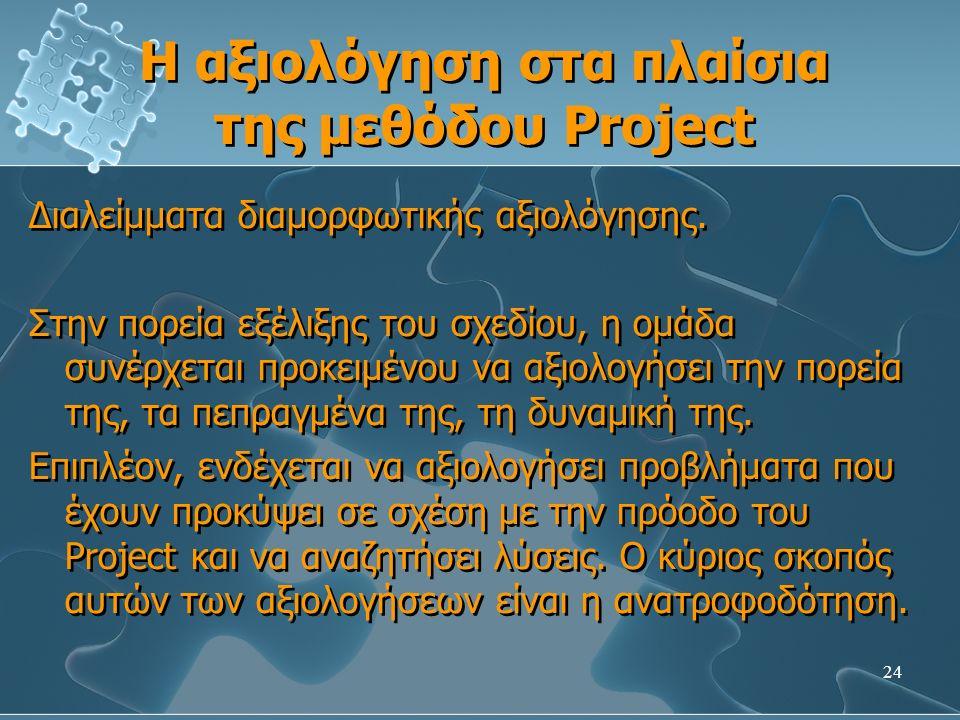 24 Η αξιολόγηση στα πλαίσια της μεθόδου Project Διαλείμματα διαμορφωτικής αξιολόγησης.