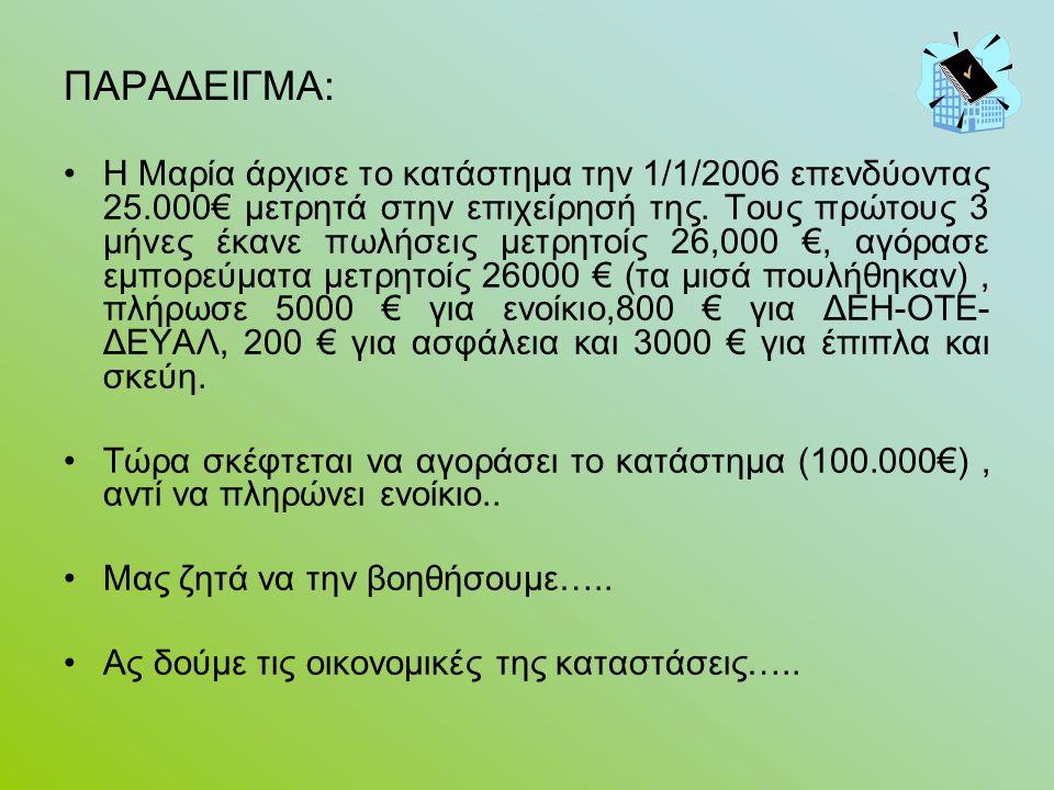ΠΑΡΑΔΕΙΓΜΑ: Η Μαρία άρχισε το κατάστημα την 1/1/2006 επενδύοντας 25.000€ μετρητά στην επιχείρησή της.
