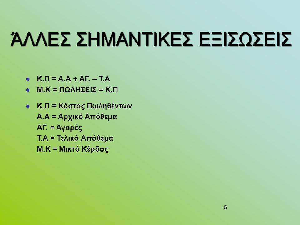6 ΆΛΛΕΣ ΣΗΜΑΝΤΙΚΕΣ ΕΞΙΣΩΣΕΙΣ Κ.Π = Α.Α + ΑΓ.