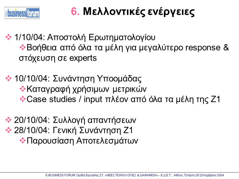 Ε-BUSINESS FORUM Ομάδα Εργασίας Ζ1: «ΝΕΕΣ ΤΕΧΝΟΛΟΓΙΕΣ & ΔΙΑΦΗΜΙΣΗ» - Ε.Δ.Ε.Τ., Αθήνα, Τετάρτη 29 Σεπτεμβρίου 2004 6. Μελλοντικές ενέργειες  1/10/04: