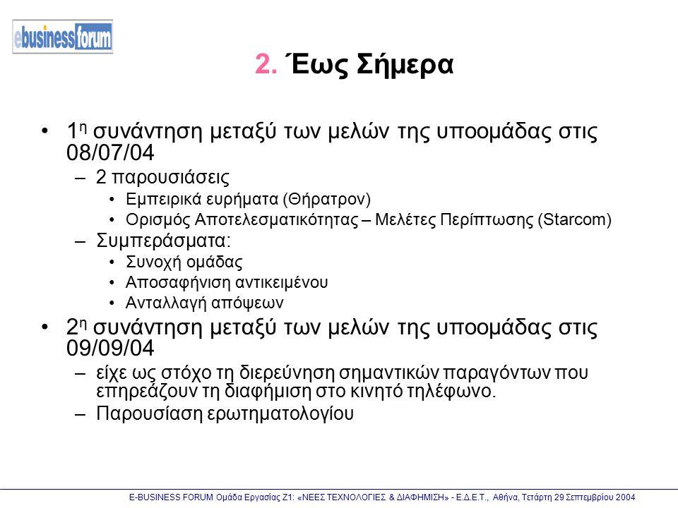 Ε-BUSINESS FORUM Ομάδα Εργασίας Ζ1: «ΝΕΕΣ ΤΕΧΝΟΛΟΓΙΕΣ & ΔΙΑΦΗΜΙΣΗ» - Ε.Δ.Ε.Τ., Αθήνα, Τετάρτη 29 Σεπτεμβρίου 2004 2. Έως Σήμερα 1 η συνάντηση μεταξύ τ