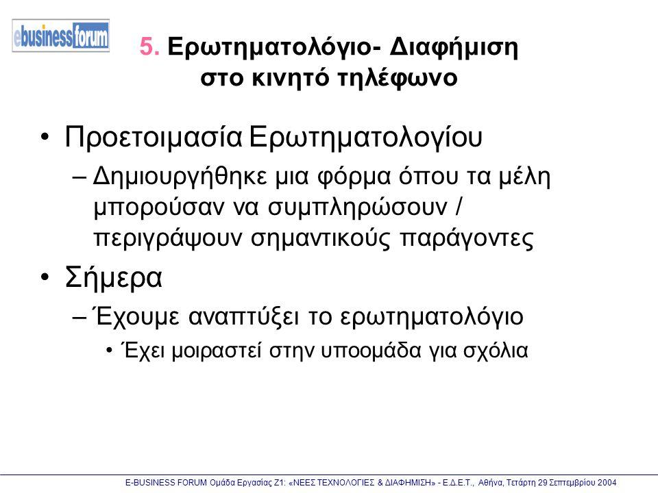 Ε-BUSINESS FORUM Ομάδα Εργασίας Ζ1: «ΝΕΕΣ ΤΕΧΝΟΛΟΓΙΕΣ & ΔΙΑΦΗΜΙΣΗ» - Ε.Δ.Ε.Τ., Αθήνα, Τετάρτη 29 Σεπτεμβρίου 2004 5. Ερωτηματολόγιο- Διαφήμιση στο κιν