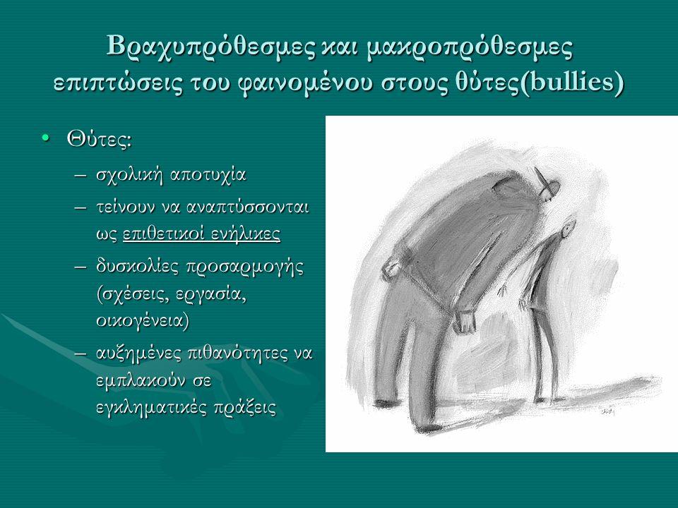 Βραχυπρόθεσμες και μακροπρόθεσμες επιπτώσεις του φαινομένου στους θύτες(bullies) Θύτες:Θύτες: –σχολική αποτυχία –τείνουν να αναπτύσσονται ως επιθετικοί ενήλικες –δυσκολίες προσαρμογής (σχέσεις, εργασία, οικογένεια) –αυξημένες πιθανότητες να εμπλακούν σε εγκληματικές πράξεις