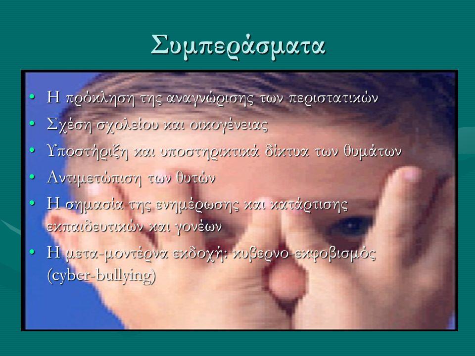 Συμπεράσματα Η πρόκληση της αναγνώρισης των περιστατικώνΗ πρόκληση της αναγνώρισης των περιστατικών Σχέση σχολείου και οικογένειαςΣχέση σχολείου και οικογένειας Υποστήριξη και υποστηρικτικά δίκτυα των θυμάτωνΥποστήριξη και υποστηρικτικά δίκτυα των θυμάτων Αντιμετώπιση των θυτώνΑντιμετώπιση των θυτών Η σημασία της ενημέρωσης και κατάρτισης εκπαιδευτικών και γονέωνΗ σημασία της ενημέρωσης και κατάρτισης εκπαιδευτικών και γονέων Η μετα-μοντέρνα εκδοχή: κυβερνο-εκφοβισμός (cyber-bullying)Η μετα-μοντέρνα εκδοχή: κυβερνο-εκφοβισμός (cyber-bullying)