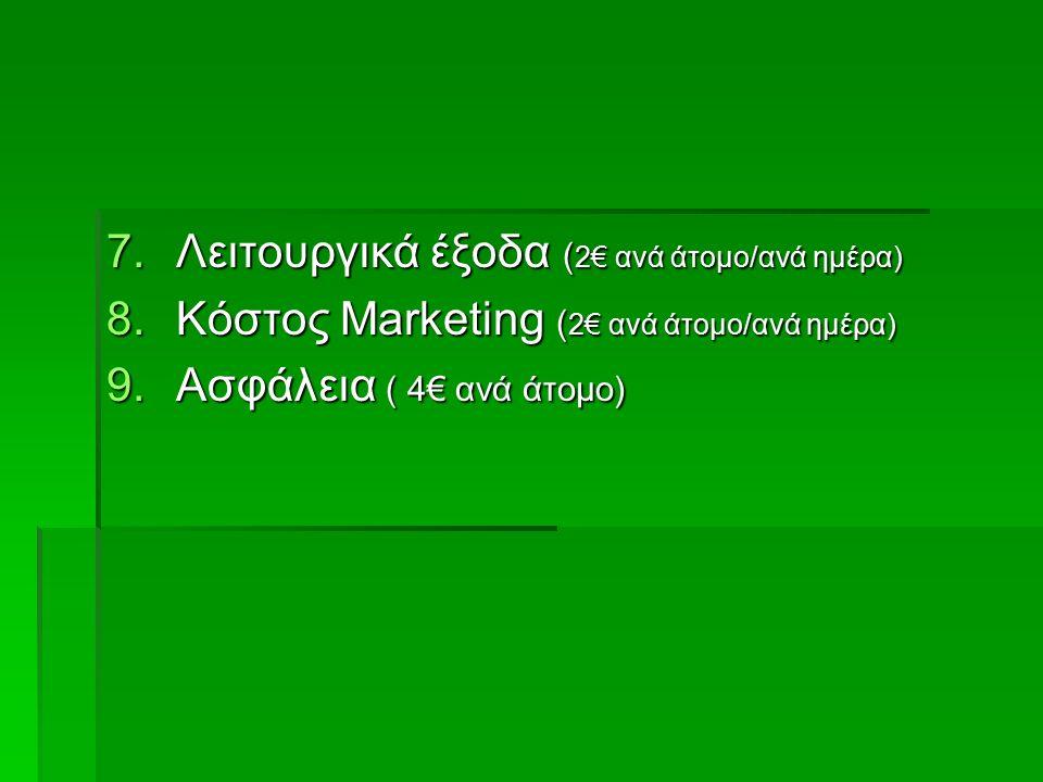 7.Λειτουργικά έξοδα ( 2€ ανά άτομο/ανά ημέρα) 8.Κόστος Marketing ( 2€ ανά άτομο/ανά ημέρα) 9.Ασφάλεια ( 4€ ανά άτομο)