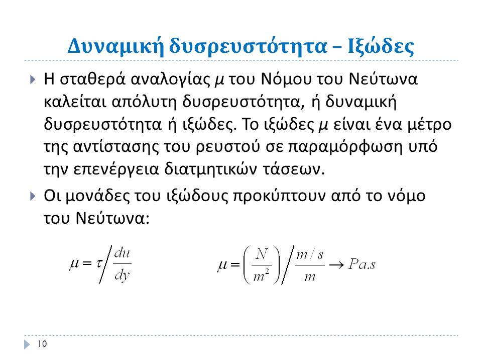Δυναμική δυσρευστότητα – Ιξώδες  Η σταθερά αναλογίας μ του Νόμου του Νεύτωνα καλείται απόλυτη δυσρευστότητα, ή δυναμική δυσρευστότητα ή ιξώδες.
