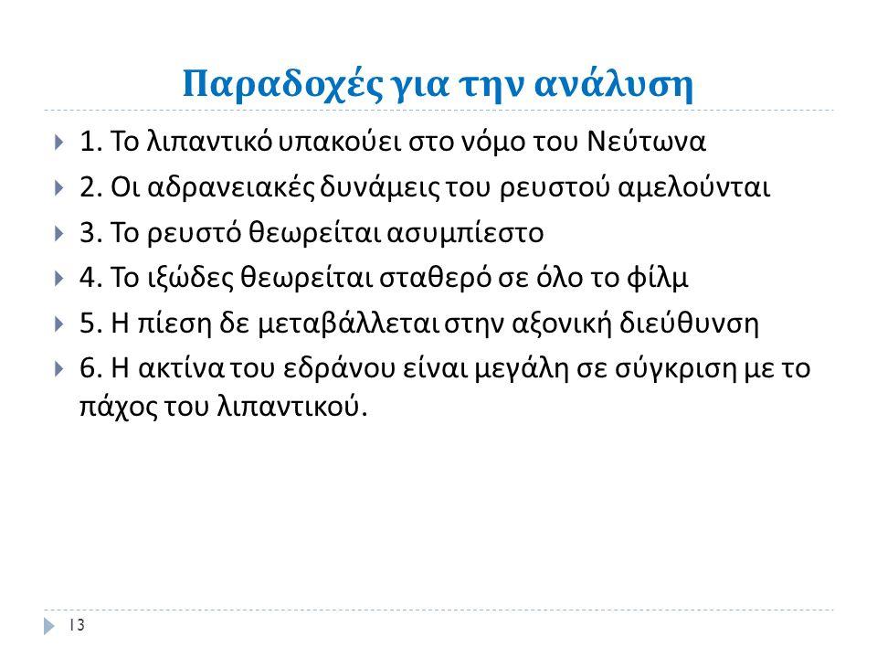 Παραδοχές για την ανάλυση  1. Το λιπαντικό υπακούει στο νόμο του Νεύτωνα  2.