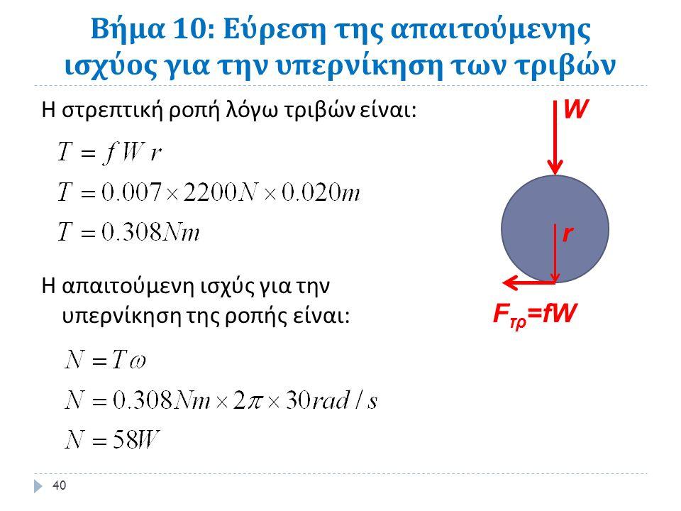 Βήμα 10: Εύρεση της απαιτούμενης ισχύος για την υπερνίκηση των τριβών Η στρεπτική ροπή λόγω τριβών είναι : Η απαιτούμενη ισχύς για την υπερνίκηση της ροπής είναι : 40 W F τρ =fW r