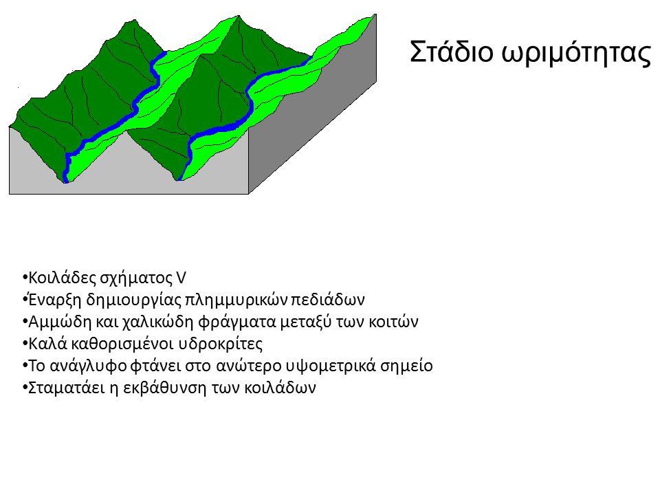 Κοιλάδες σχήματος V Έναρξη δημιουργίας πλημμυρικών πεδιάδων Αμμώδη και χαλικώδη φράγματα μεταξύ των κοιτών Καλά καθορισμένοι υδροκρίτες Το ανάγλυφο φτάνει στο ανώτερο υψομετρικά σημείο Σταματάει η εκβάθυνση των κοιλάδων Στάδιο ωριμότητας