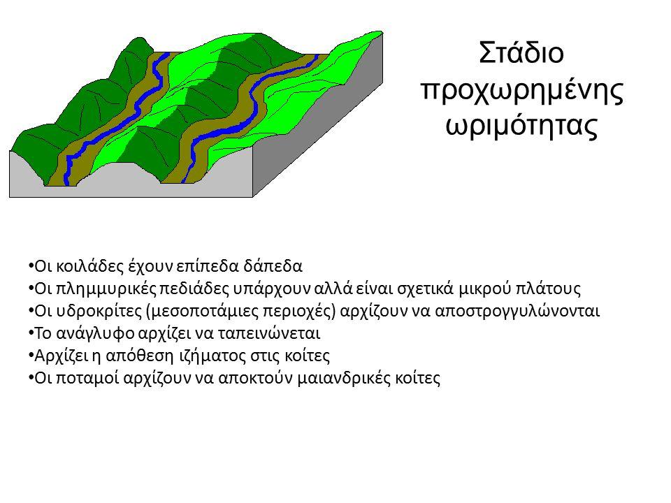 Οι κοιλάδες έχουν επίπεδα δάπεδα Οι πλημμυρικές πεδιάδες υπάρχουν αλλά είναι σχετικά μικρού πλάτους Οι υδροκρίτες (μεσοποτάμιες περιοχές) αρχίζουν να αποστρογγυλώνονται Το ανάγλυφο αρχίζει να ταπεινώνεται Αρχίζει η απόθεση ιζήματος στις κοίτες Οι ποταμοί αρχίζουν να αποκτούν μαιανδρικές κοίτες Στάδιο προχωρημένης ωριμότητας