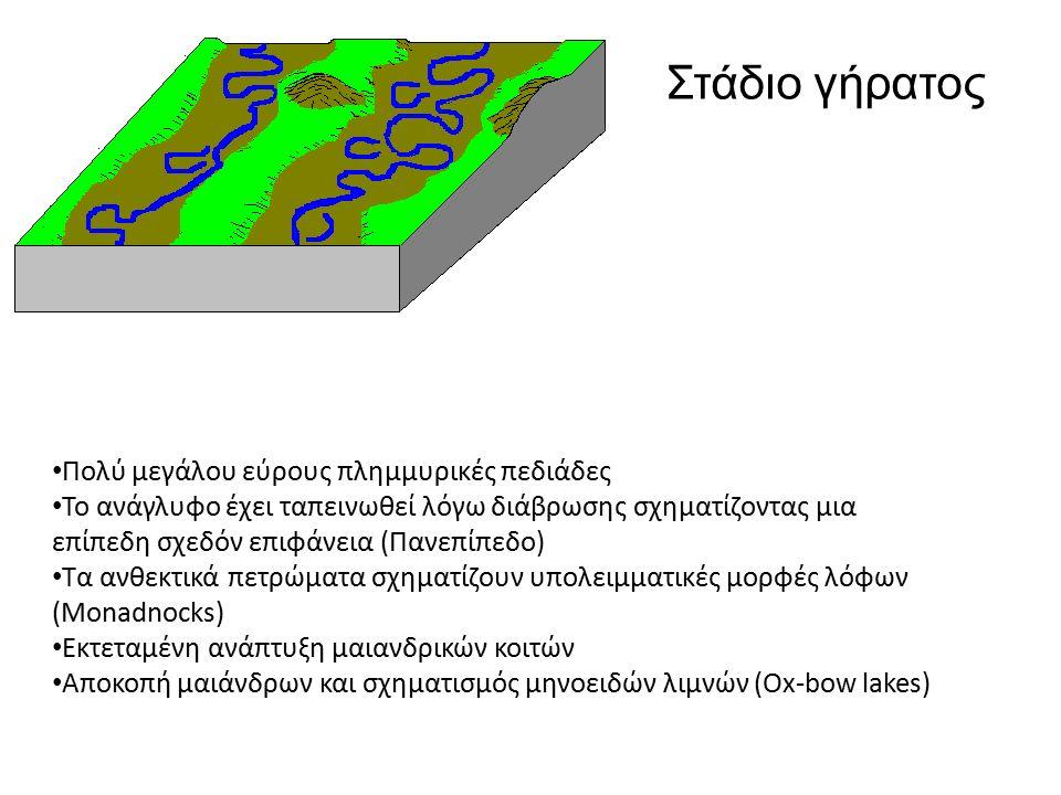 Πολύ μεγάλου εύρους πλημμυρικές πεδιάδες Το ανάγλυφο έχει ταπεινωθεί λόγω διάβρωσης σχηματίζοντας μια επίπεδη σχεδόν επιφάνεια (Πανεπίπεδο) Τα ανθεκτικά πετρώματα σχηματίζουν υπολειμματικές μορφές λόφων (Monadnocks) Εκτεταμένη ανάπτυξη μαιανδρικών κοιτών Αποκοπή μαιάνδρων και σχηματισμός μηνοειδών λιμνών (Ox-bow lakes) Στάδιο γήρατος