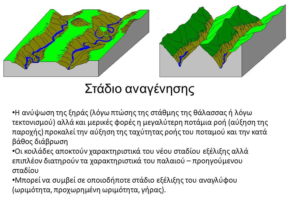 Η ανύψωση της ξηράς (λόγω πτώσης της στάθμης της θάλασσας ή λόγω τεκτονισμού) αλλά και μερικές φορές η μεγαλύτερη ποτάμια ροή (αύξηση της παροχής) προκαλεί την αύξηση της ταχύτητας ροής του ποταμού και την κατά βάθος διάβρωση Οι κοιλάδες αποκτούν χαρακτηριστικά του νέου σταδίου εξέλιξης αλλά επιπλέον διατηρούν τα χαρακτηριστικά του παλαιού – προηγούμενου σταδίου Μπορεί να συμβεί σε οποιοδήποτε στάδιο εξέλιξης του αναγλύφου (ωριμότητα, προχωρημένη ωριμότητα, γήρας).