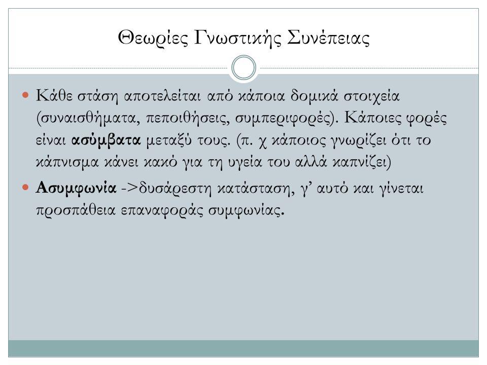 Θεωρίες Γνωστικής Συνέπειας Κάθε στάση αποτελείται από κάποια δομικά στοιχεία (συναισθήματα, πεποιθήσεις, συμπεριφορές). Κάποιες φορές είναι ασύμβατα