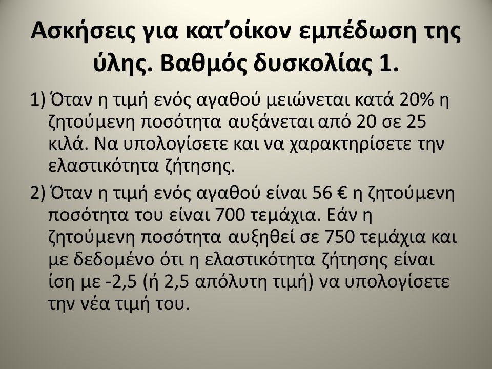 Ασκήσεις για κατ'οίκον εμπέδωση της ύλης. Βαθμός δυσκολίας 1. 1) Όταν η τιμή ενός αγαθού μειώνεται κατά 20% η ζητούμενη ποσότητα αυξάνεται από 20 σε 2