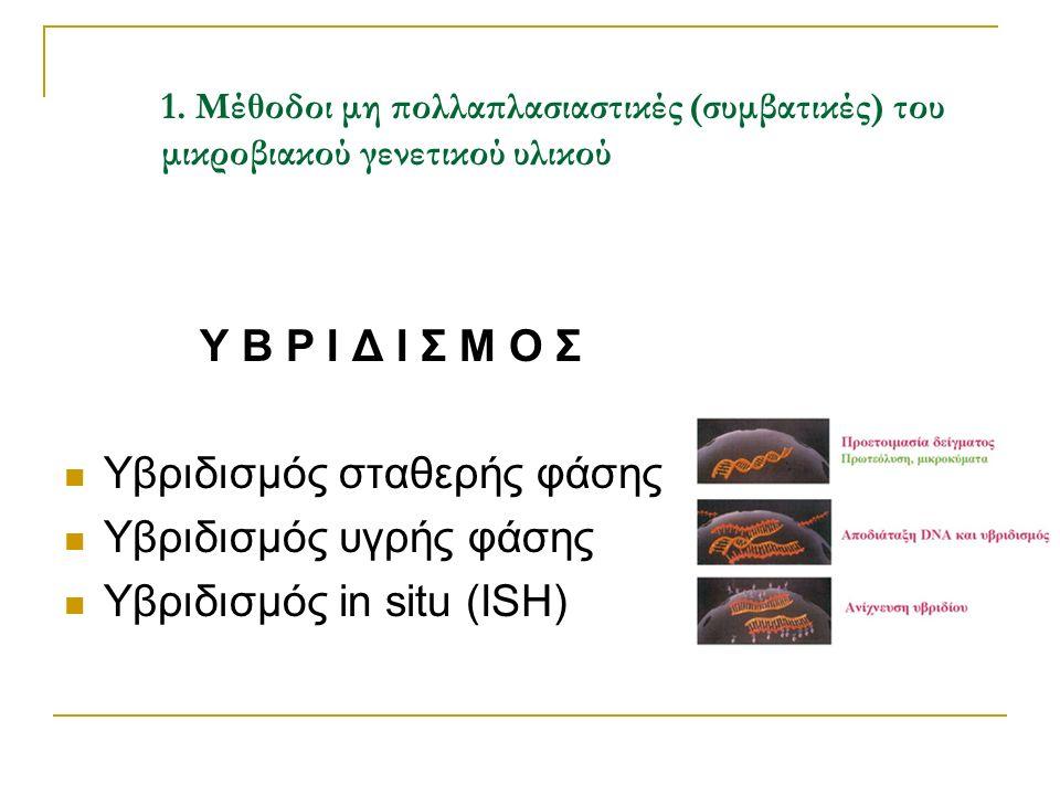 1. Μέθοδοι μη πολλαπλασιαστικές (συμβατικές) του μικροβιακού γενετικού υλικού Υ Β Ρ Ι Δ Ι Σ Μ Ο Σ Υβριδισμός σταθερής φάσης Υβριδισμός υγρής φάσης Υβρ