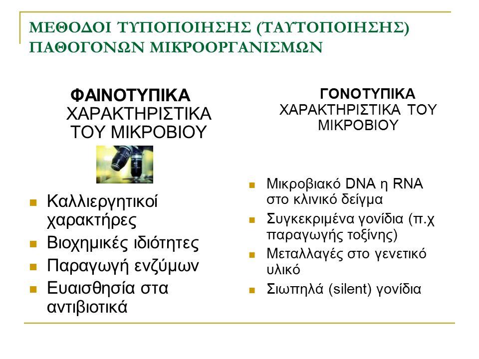 ΜΕΘΟΔΟΙ ΤΥΠΟΠΟΙΗΣΗΣ (ΤΑΥΤΟΠΟΙΗΣΗΣ) ΠΑΘΟΓΟΝΩΝ ΜΙΚΡΟΟΡΓΑΝΙΣΜΩΝ ΦΑΙΝΟΤΥΠΙΚΑ ΧΑΡΑΚΤΗΡΙΣΤΙΚΑ ΤΟΥ ΜΙΚΡΟΒΙΟΥ Καλλιεργητικοί χαρακτήρες Βιοχημικές ιδιότητες Π